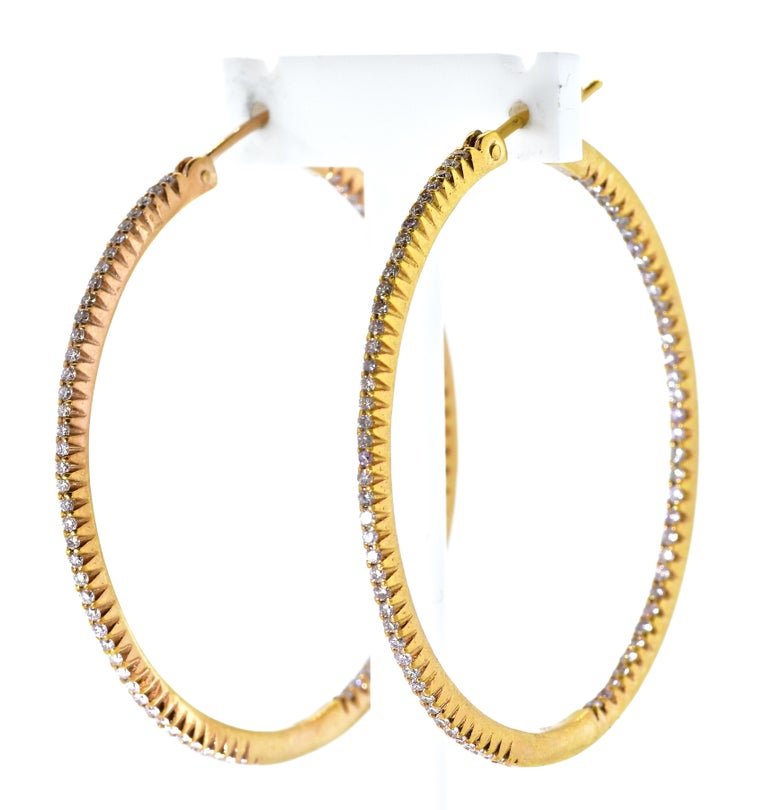 Contemporary Pink Gold and Diamond Hoops, by Pierre/Famille