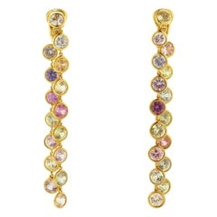 Multi-Color Sapphire Pink Gold Dangle Earrings