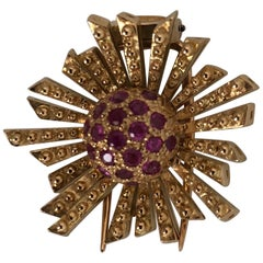 Pink Gold and Ruby Brooch