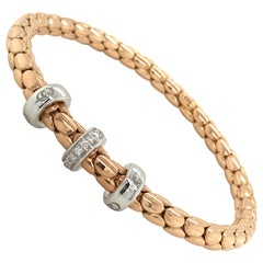 Pink Gold and White Gold 18 Karat Timeless Stretch Bracelet with Diamonds