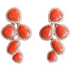 Pink Gold Articulated Sleeper Coral Earrings