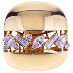 Pink Gold Band Ring with Diamonds Mixed Cut