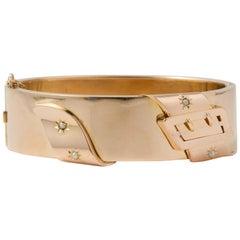 Pink Gold Bracelet 18 Carat Belt-Shaped Bracelet with 4 Natural Pearl circa 1950