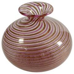 Pink & Gold Leaf Aventurine Mezza Filigrana Murano Glass Vase, Italy, 1950s