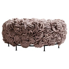 Pink Gold Mini Pouf, Handmade Crochet Elements in Cotton and Polyester