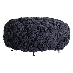 Dark Grey Black Mini Pouf, Handmade Crochet elements in Cotton and Polyester