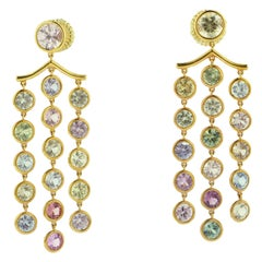 Multi-Color Sapphire Pink Gold Chandelier Earrings