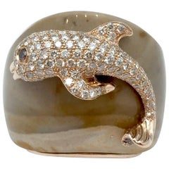 Pink Gold Paolobongia Dolphin Ring Set with Diamonds, Jaspe and Garnet