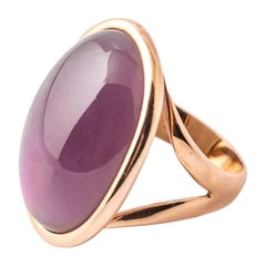 Pink Gold Ring Surmounted by a Hydro Amethyst and Nacre Shape Cabochon
