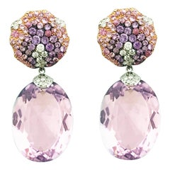 Pink Gold White Gold Amethyst, Purple Sapphire, Pink Sapphire Diamond Earrings
