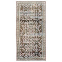 Pink, Gray, Charcoal and Brown Vintage Persian Hamadan Rug with Flower Design