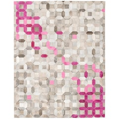Pink, Gray Tessellation Trellis Pink Customizable Cowhide Area Floor Rug X-Large