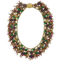 Pink Green Purple Glass Beads Faux Pearl Filigree Collar Necklace circa 1950s
