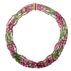 Pink Green Tourmaline 18 Karat Gold Five Strand Necklace