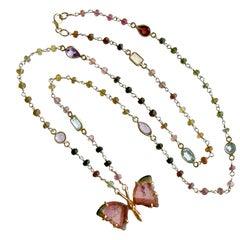 Pink Green Watermelon Tourmaline Butterfly Necklace, Papillon XX Necklace