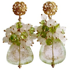 Pink Green Watermelon Tourmaline Slices Peridot Rose Quartz Cluster Earrings