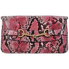 Pink Gucci Python Horsebit Clutch