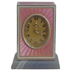 Pink Guilloche Enamel and Silver Sub-Miniature Carriage Clock by Asprey
