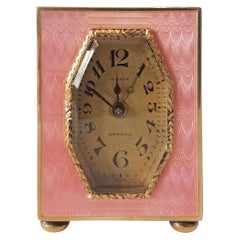 Pink Guilloche Enamel Silver Gilt Sub-Miniature Carriage Clock with Alarm