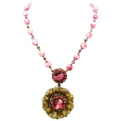 Pink hand blown glass bead and paste 'rosette' pendant, Miriam Haskell, 1960s