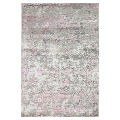 Pink Hi-Lo Pile Abstract Design Wool and Silk Hand Knotted Oriental Rug