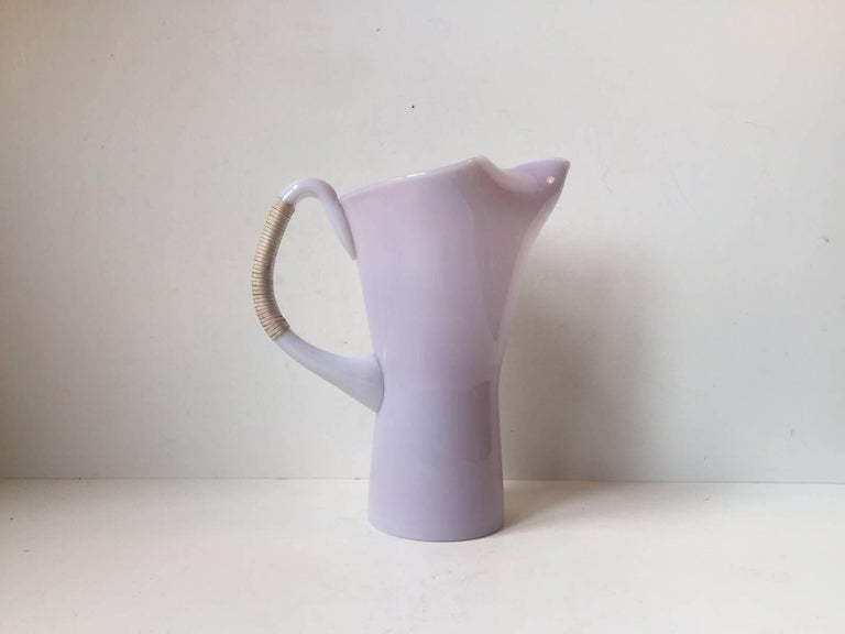 Mid-Century Modern Pink Holmegaard Opaline Glass Pitcher with Bamboo Handle by Jacob E. Bang For Sale