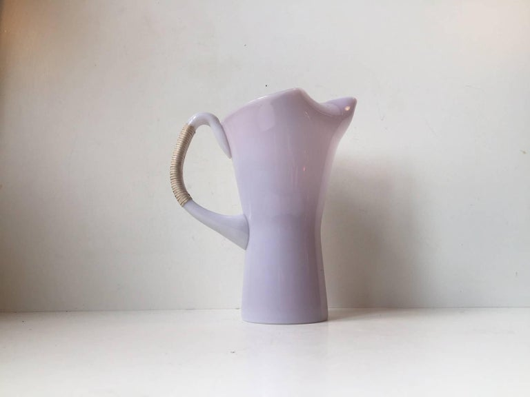 Mid-20th Century Pink Holmegaard Opaline Glass Pitcher with Bamboo Handle by Jacob E. Bang For Sale