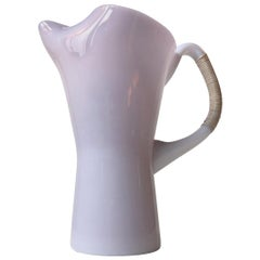 Pink Holmegaard Opaline Glass Pitcher with Bamboo Handle by Jacob E. Bang
