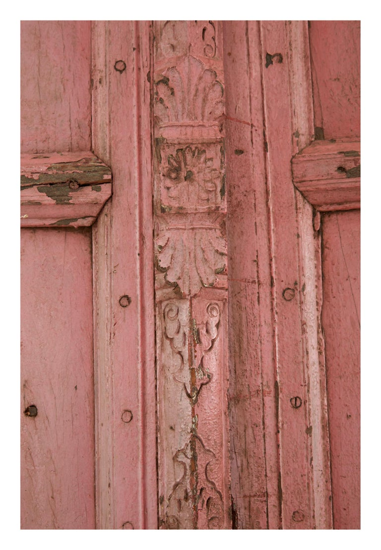 • Hand-carved • Patinaed pink painted finish as found • 19th century • India  Dimensions • 59