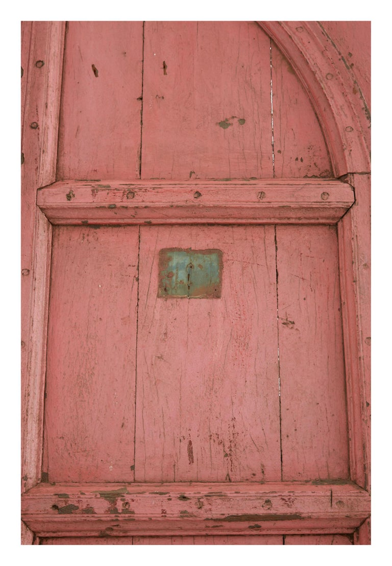 British Colonial Pink Indian Hand-Carved Wooden Doors For Sale