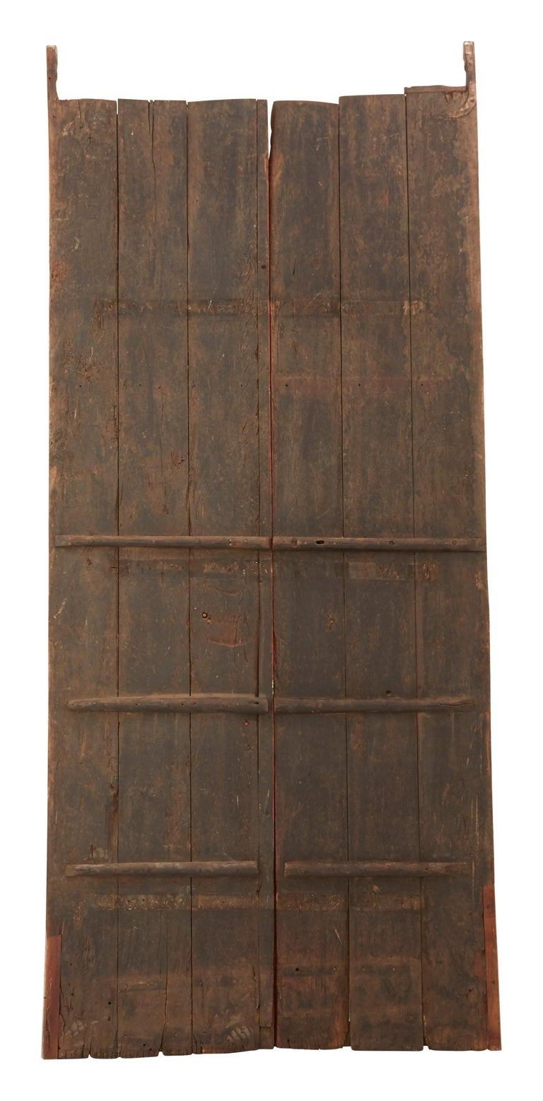 Painted Pink Indian Hand-Carved Wooden Doors For Sale