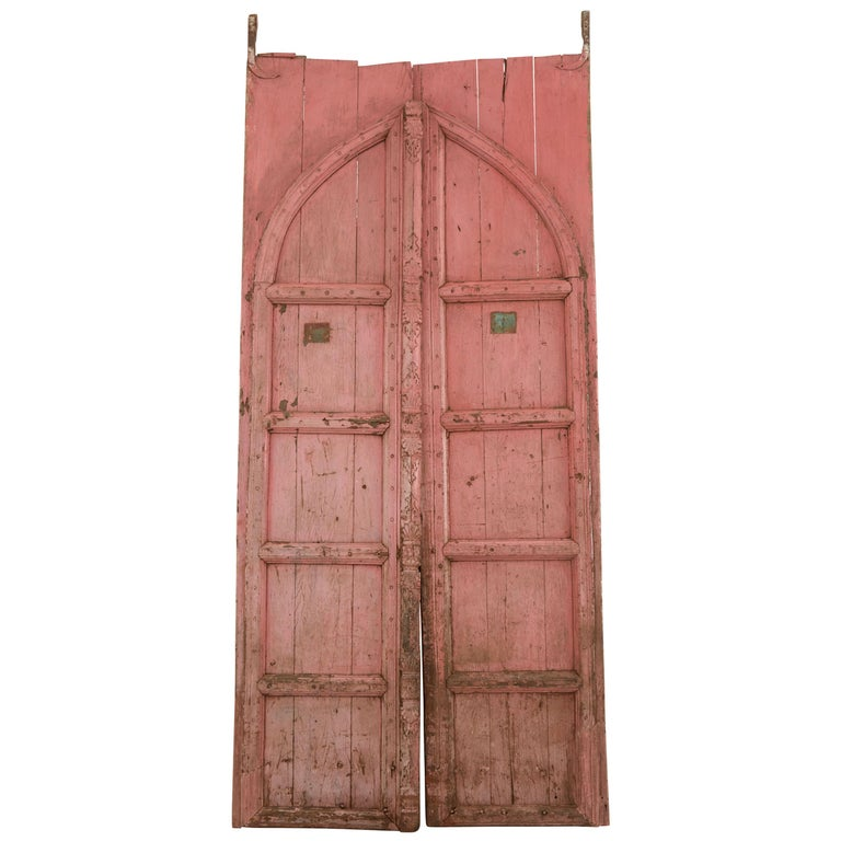 Pink Indian Hand-Carved Wooden Doors For Sale