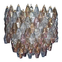 Pink Iridescent and Clear Oval Shaped Poliedri Chandelier, 1955'