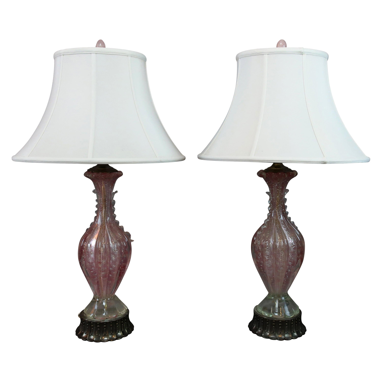 Pink Italian Murano Glass Table Lamps