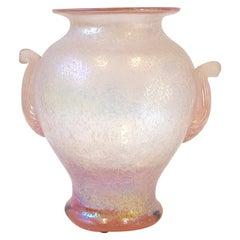 Pink Italian Scavo Murano Glass Vase by Seguso