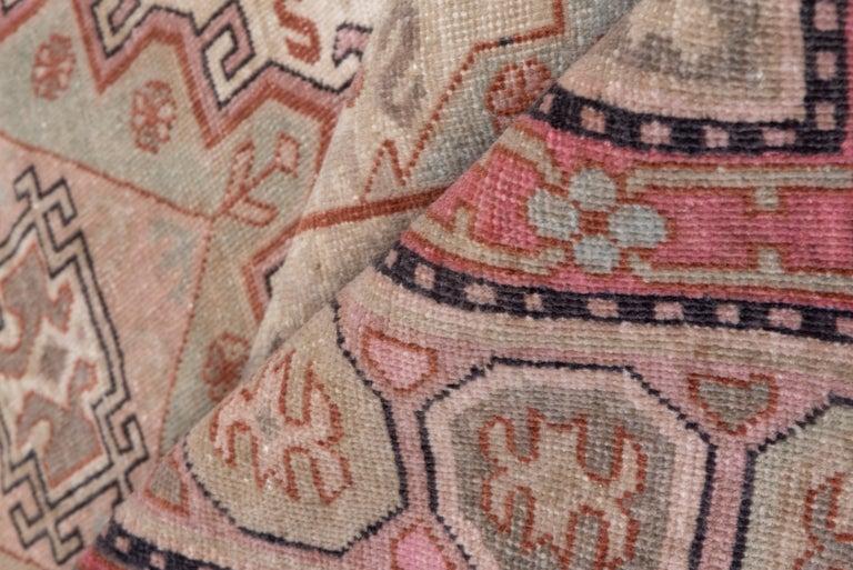 East Turkestani Pink and Ivory Khotan Rug, Light Blue Accents, Geometric For Sale