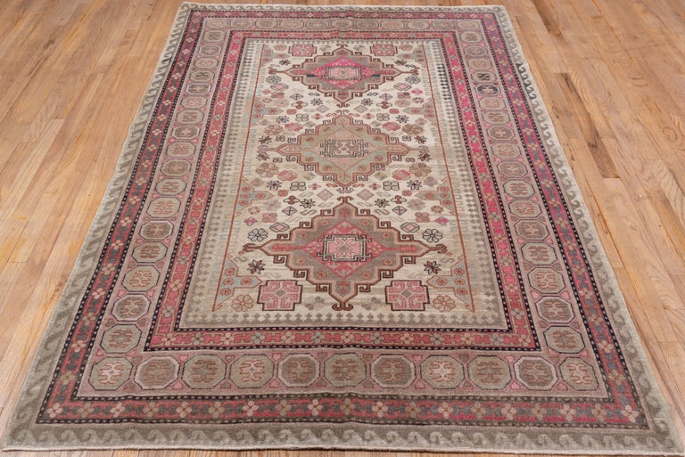 Hand-Knotted Pink and Ivory Khotan Rug, Light Blue Accents, Geometric For Sale