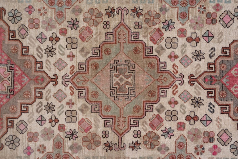 Pink and Ivory Khotan Rug, Light Blue Accents, Geometric In Good Condition For Sale In New York, NY