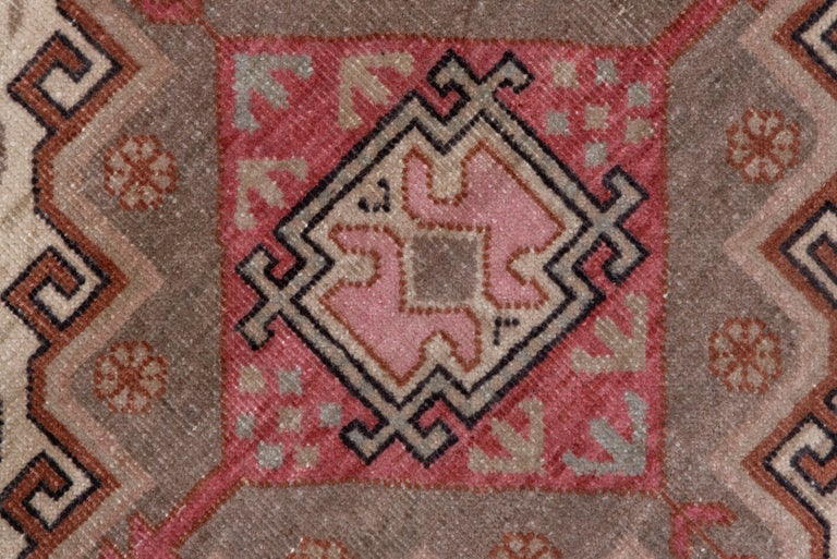 Mid-20th Century Pink and Ivory Khotan Rug, Light Blue Accents, Geometric For Sale