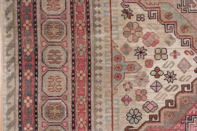 Wool Pink and Ivory Khotan Rug, Light Blue Accents, Geometric For Sale