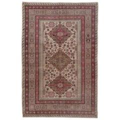 Pink and Ivory Khotan Rug, Light Blue Accents, Geometric