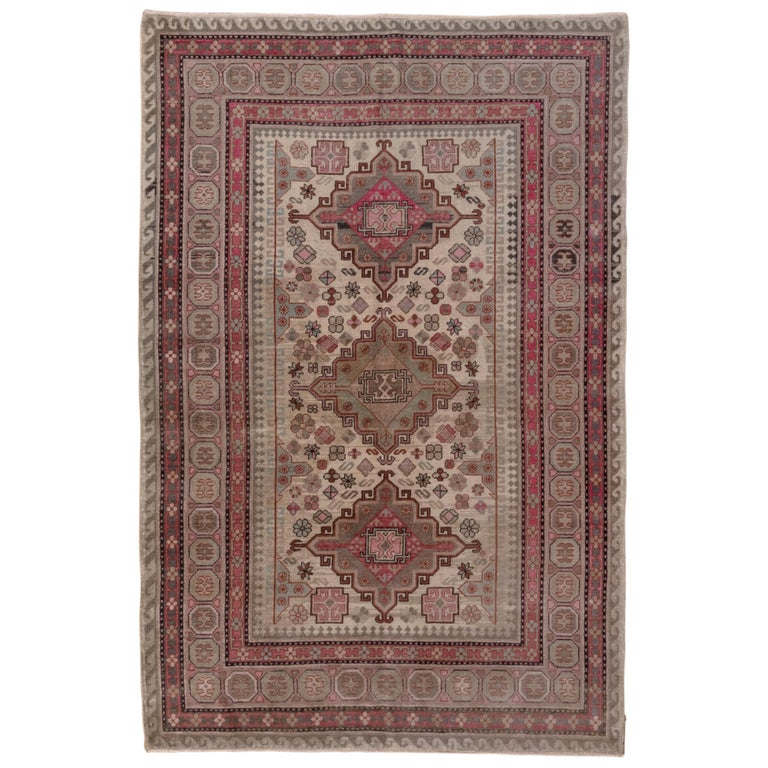 Pink and Ivory Khotan Rug, Light Blue Accents, Geometric For Sale
