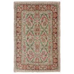 Pink, Ivory, Mocha Brown and Green Floral Design Midcentury Turkish Oushak Rug