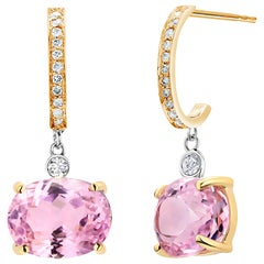 Pink Kunzite and Diamond Yellow Gold Hoop Drop Earrings Weighing 11 Carat