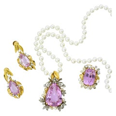 Pink Kunzite, Diamond and Pearl Suite in Platinum and Gold, circa 1935