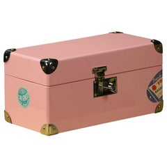 Pink Lacquered Jewelry Trunk, Doll Trunk with Its Key