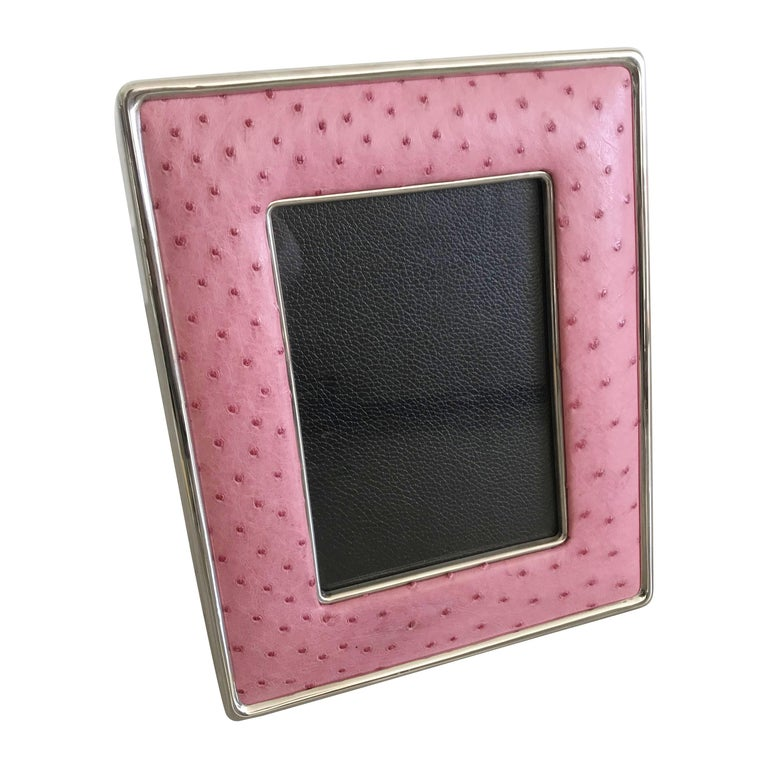 Pink Leather Photo Frame by Fabio Ltd For Sale