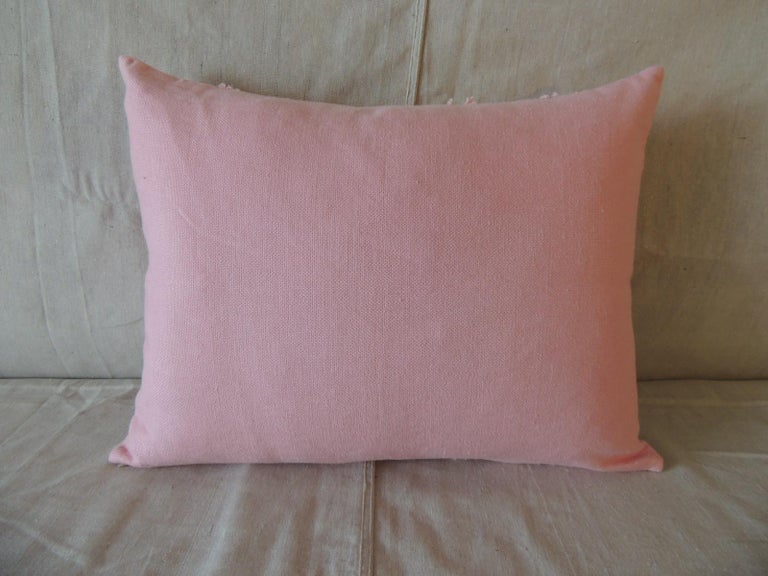 Hand-Crafted Pink Linen Modern Bolster Decorative Pillow For Sale