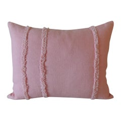 Pink Linen Modern Bolster Decorative Pillow