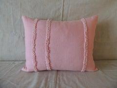 Pink Linen Modern Bolster Decorative Pillow